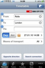 iPhone 的歐陸火車時刻軟體 SBB Mobile