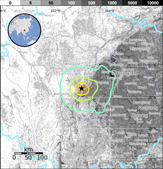 2013雅安地震的震度地圖