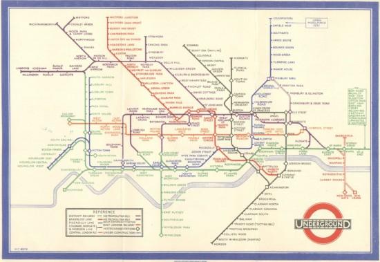 1933年Harry Beck依照電路圖的原則重新繪製了倫敦地鐵圖,此後改變了人類繪製軌道路線圖的原則