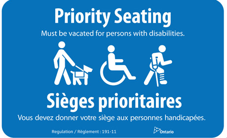 Priority Seating Bilingual Decal  - Oct 24-12